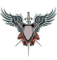 heraldic shield emblem vector image vector image