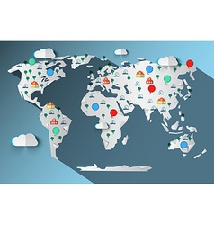 Paper Cut World Map with Clouds - Trees - Cars - vector image