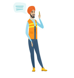 young hindu builder with speech bubble vector image