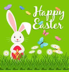 happy easter elements with rabbit vector image vector image