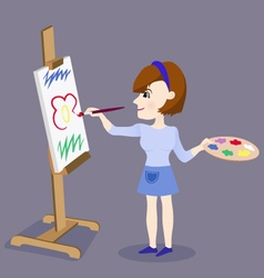 Painting female artist vector