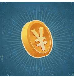 Retro Gold Yen Coin vector image