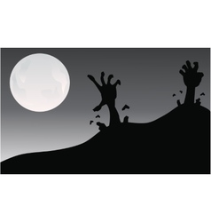 Silhouette of hand zombie halloween vector image