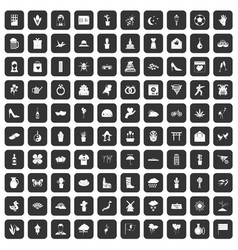 100 flowers icons set black vector
