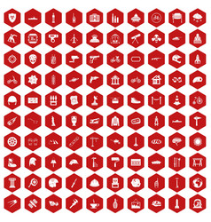100 helmet icons hexagon red vector