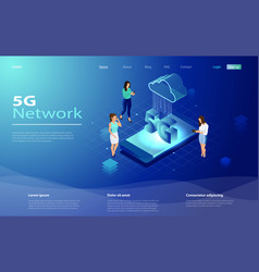 5g network technology in isometric vector image
