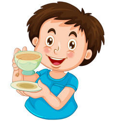 a boy drinking tea vector image