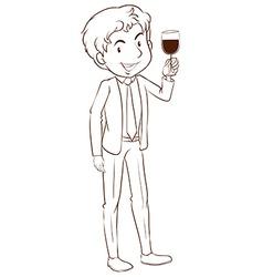 A plain sketch of a man wearing a formal dress vector