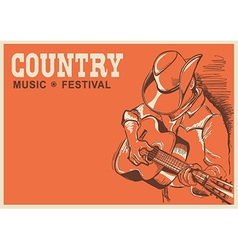American country music festival poster with vector image
