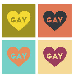 Assembly flat icons heart gays vector