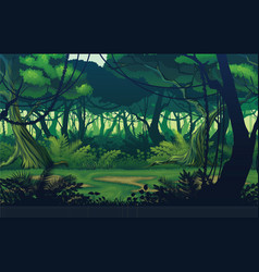 Background landscape with deep jungle forest vector