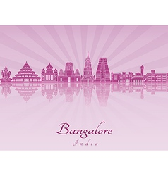 Bangalore skyline in purple radiant orchid vector