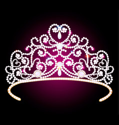 beautiful diadem crown female with glitter on a vector image