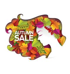 beauty autumn sale paper cut vector image