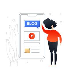 blogging online - modern colorful flat design vector image