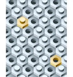 Bolts and screws 3D pattern vector