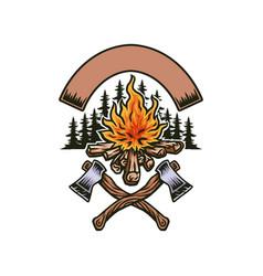 Bonfire with two axes vector