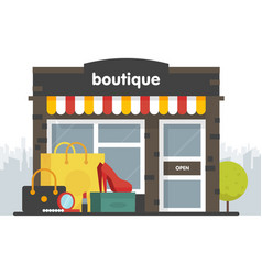 boutique facade of a boutique in a flat style box vector image