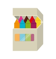 Box crayons color school isolated vector