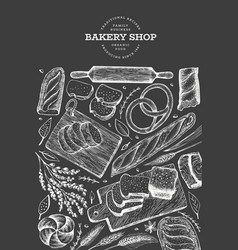 bread and pastry banner bakery hand drawn on vector image