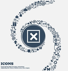 Cancel icon sign in the center Around the many vector