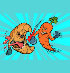 Carrots beats a croissant vegetarianism vs fast vector