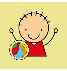 Cartoon boy happy colors ball vector