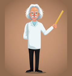 Character scientist physical holding ruler vector