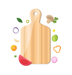 Chopped vegetable with cutting board set for vector