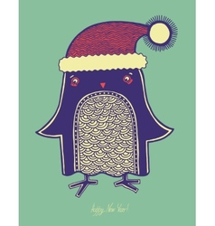 Christmas bird of doodle penguin in a hat merry c vector