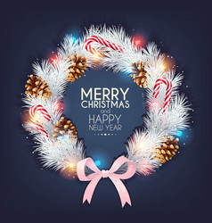 Christmas design with pine branch and cone vector