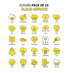cloud service icon set yellow futuro latest vector image
