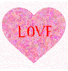 Colorful doodle background heart valentines day vector