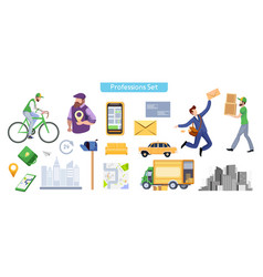commercial services flat set vector image