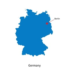 Detailed map of Germany and capital city Berlin vector