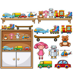 Different toys on wooden shelves vector