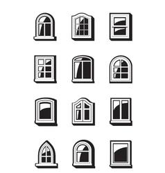 Different windows buildings vector