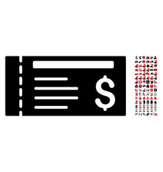 dollar cheque icon with 90 bonus pictograms vector image