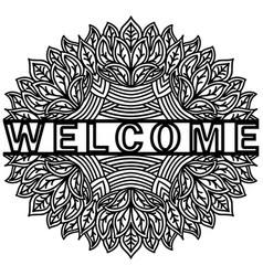Doodling cute pattern with message welcome hand vector