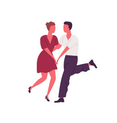 faceless people holding hands and dancing lindy vector image