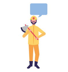 firefighter with axe speech bubble vector image