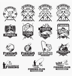 fishing logo badge 1 vector image