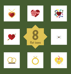 Flat icon passion set of emotion necklace ring vector