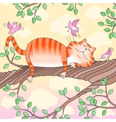 Funny cat sleeping on the tree vector image