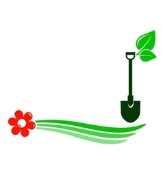 Gardening background with flower vector