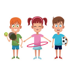 Group kids sport active vector