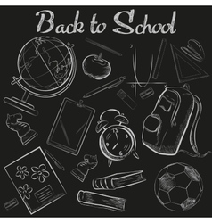 Hand drawn school chalk sketch chalkboard vector