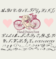 hand made font in hipster style vector image