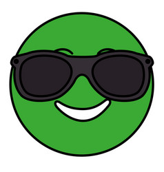 happy with sunglasses emoticon face character icon vector image