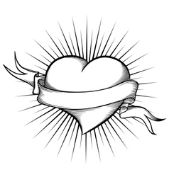 Heart with ribbon in tattoo style vector image